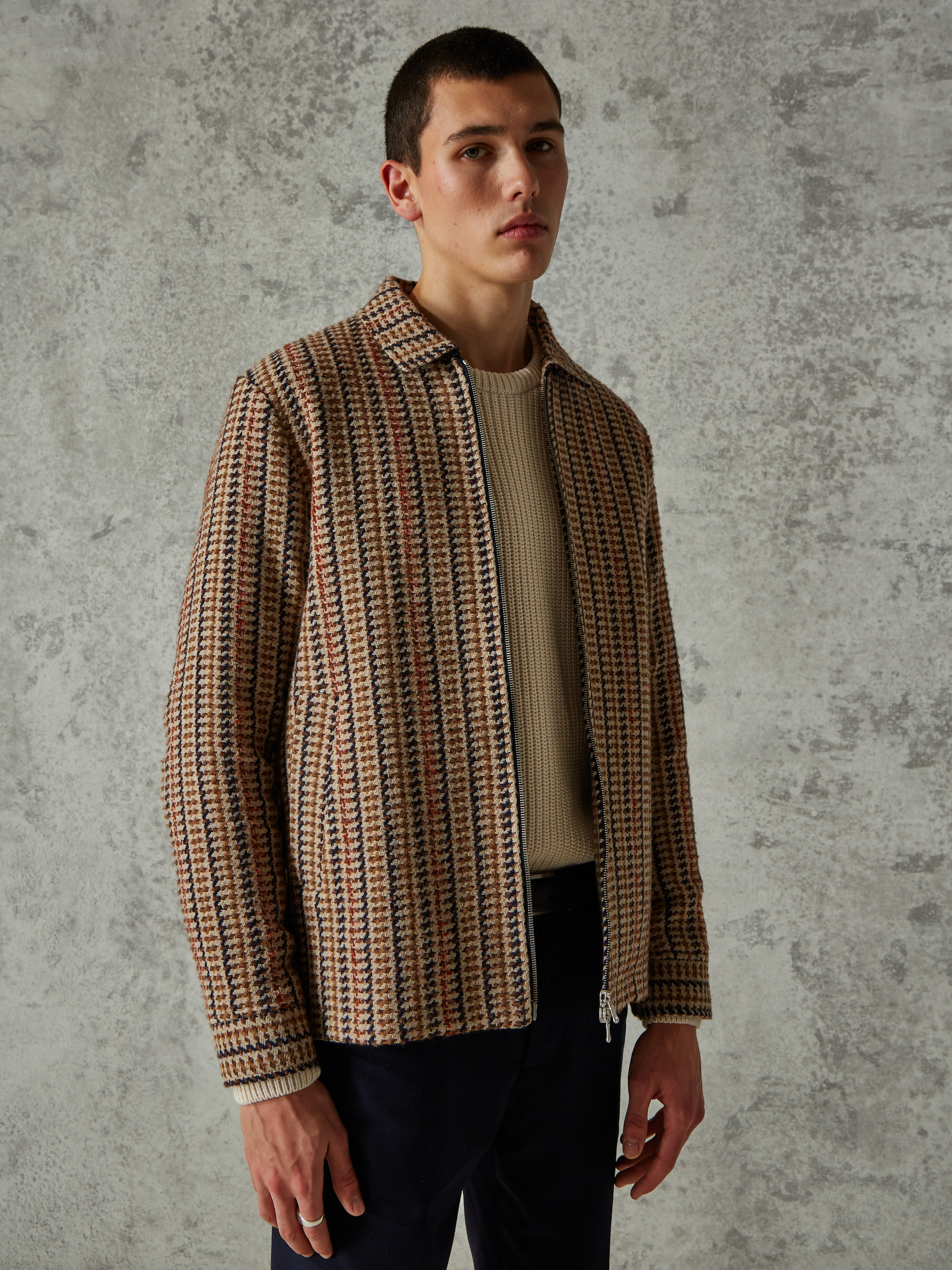 Wax London WOODS COACH JACKET - BROWN DOGTOOTH 2