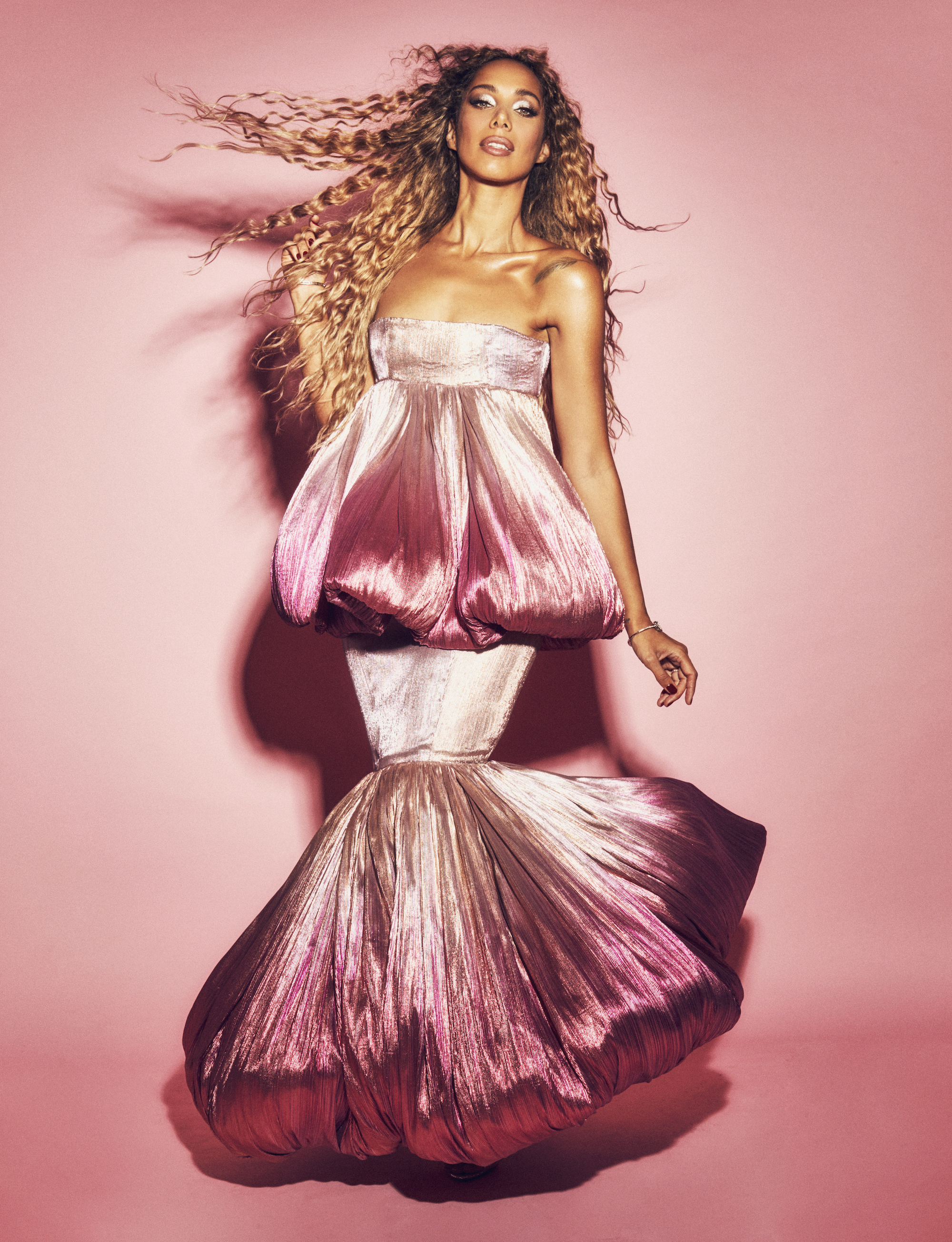 Leona Lewis wearing Pink dress
