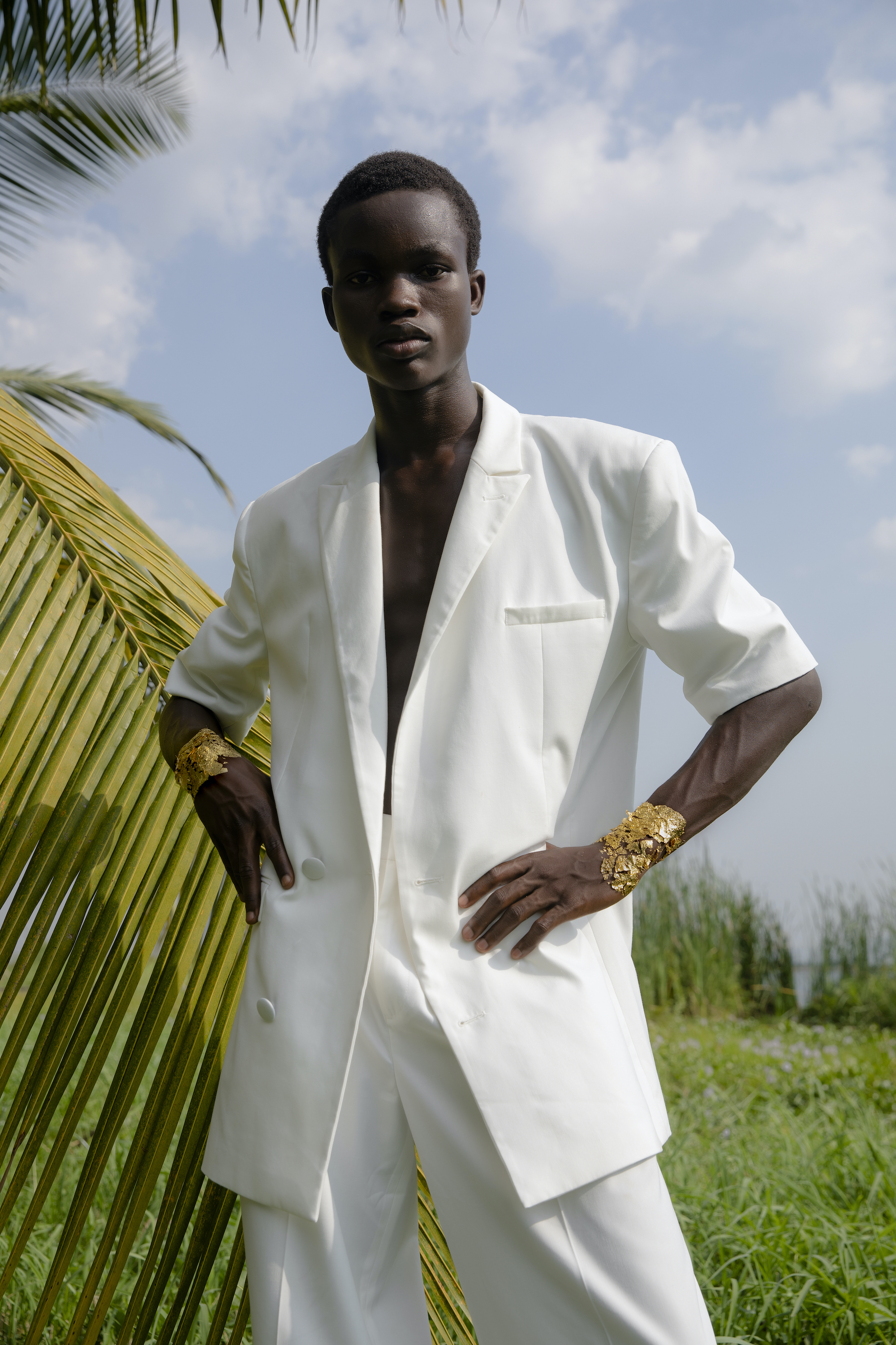 GHANA daily Paper SS21 collection Future Roots model wearing white blazer