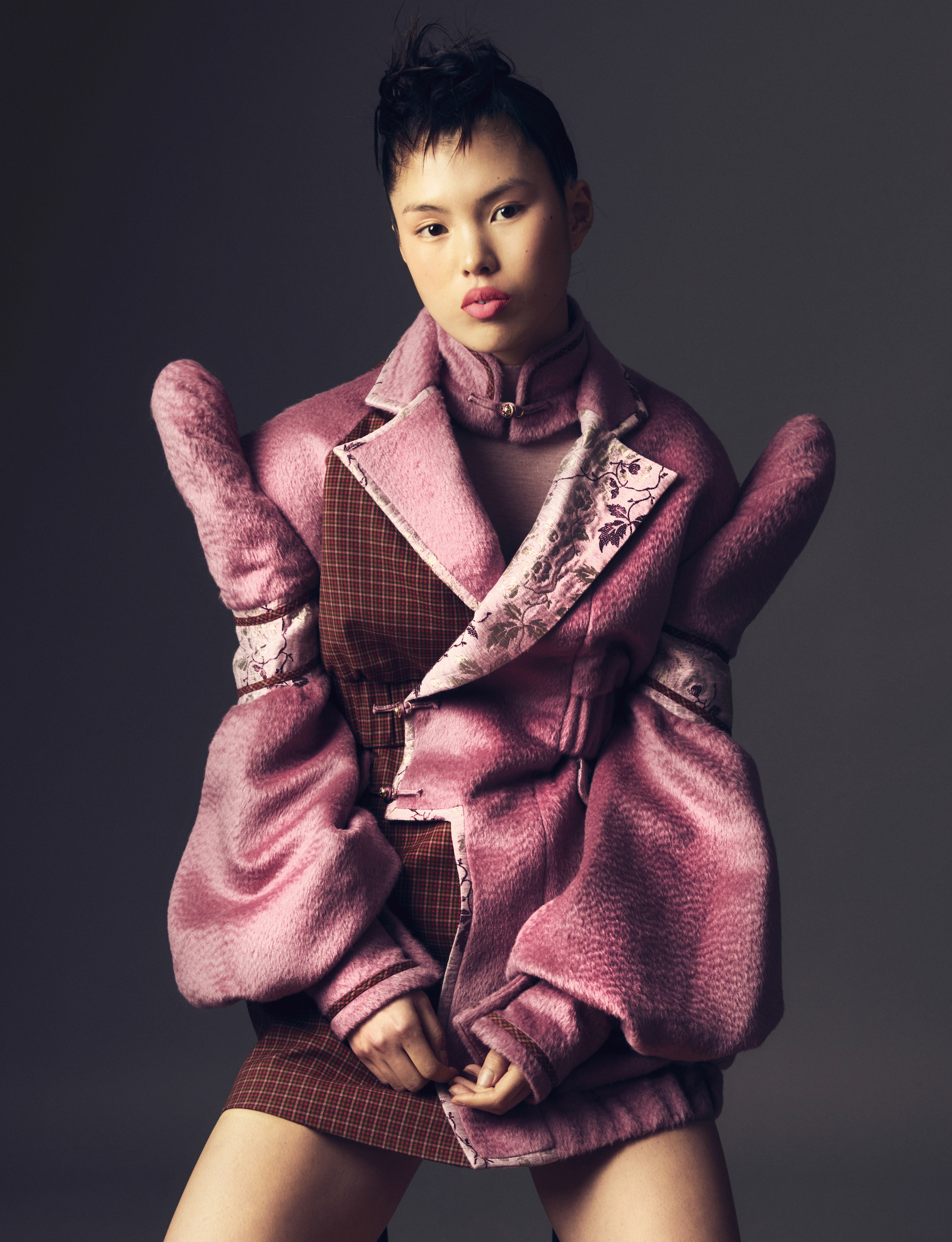 Sara Wong FW21 Collection at Milan Fashion Week pink padded