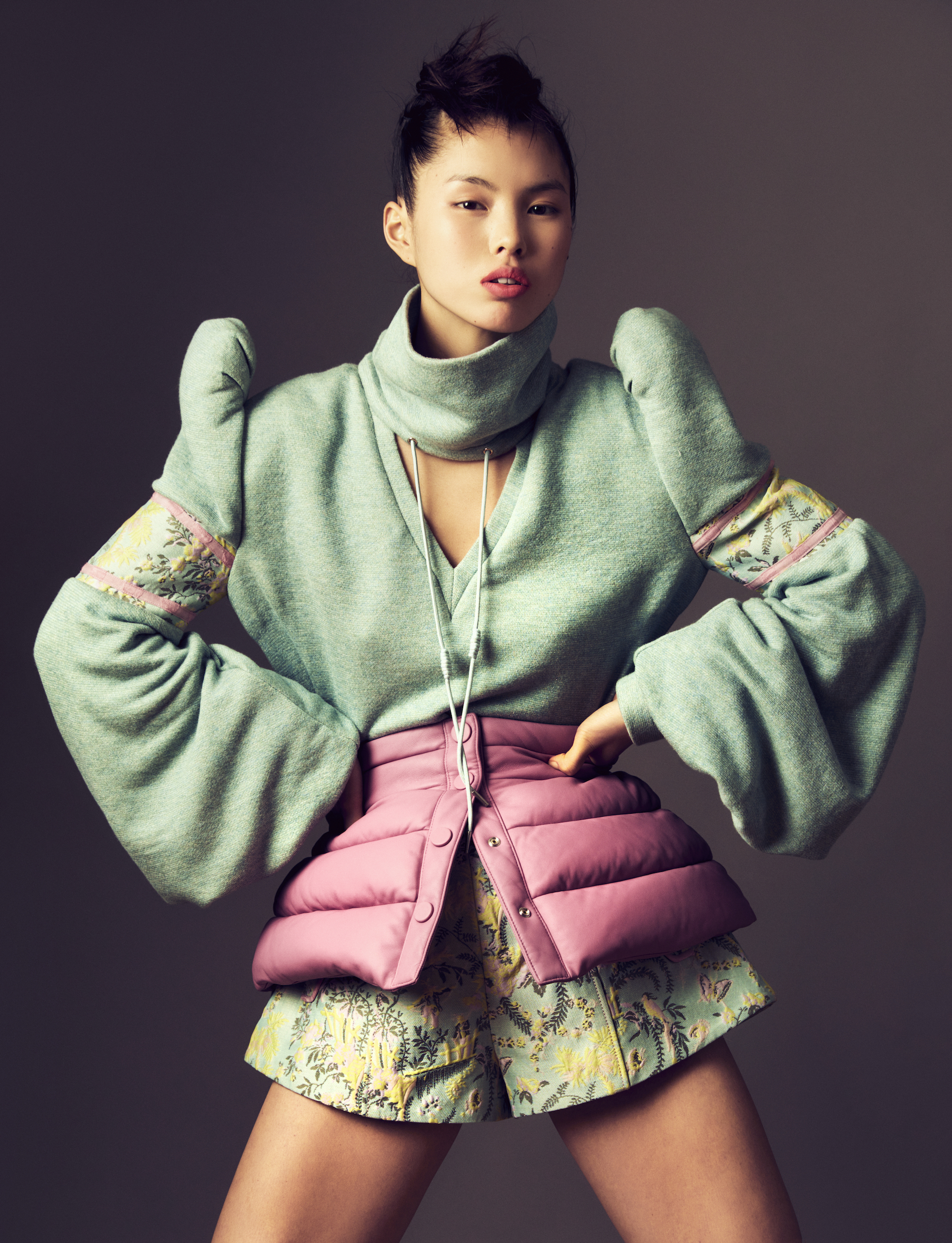 Sara Wong FW21 Collection at Milan Fashion Week turquoise padded
