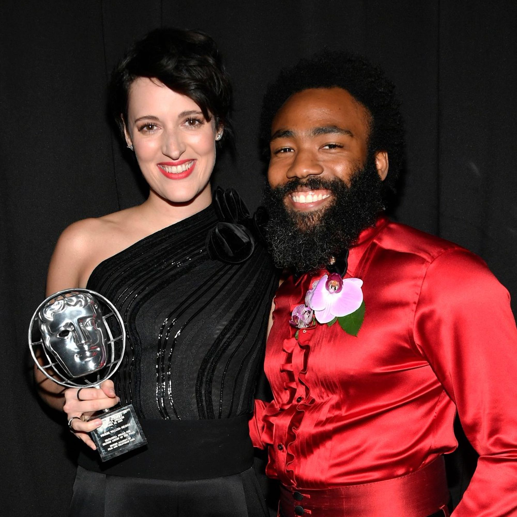 Phoebe Waller-Bridge and Donald Glover at awards ceremony