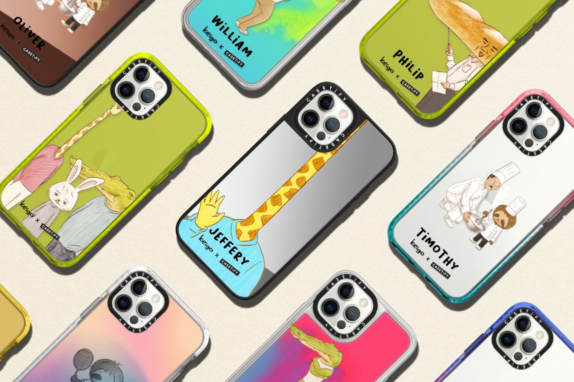 Keigo x CASETiFY tech accessory collection, giraffe waves hello