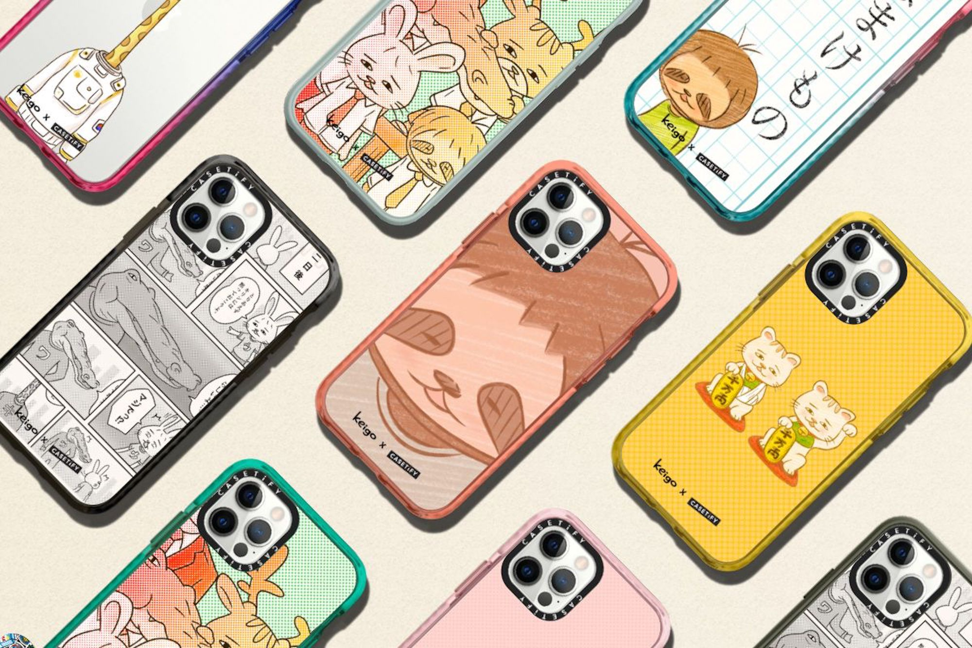 Keigo x CASETiFY tech accessory collection, sloth snapshot selfie and co
