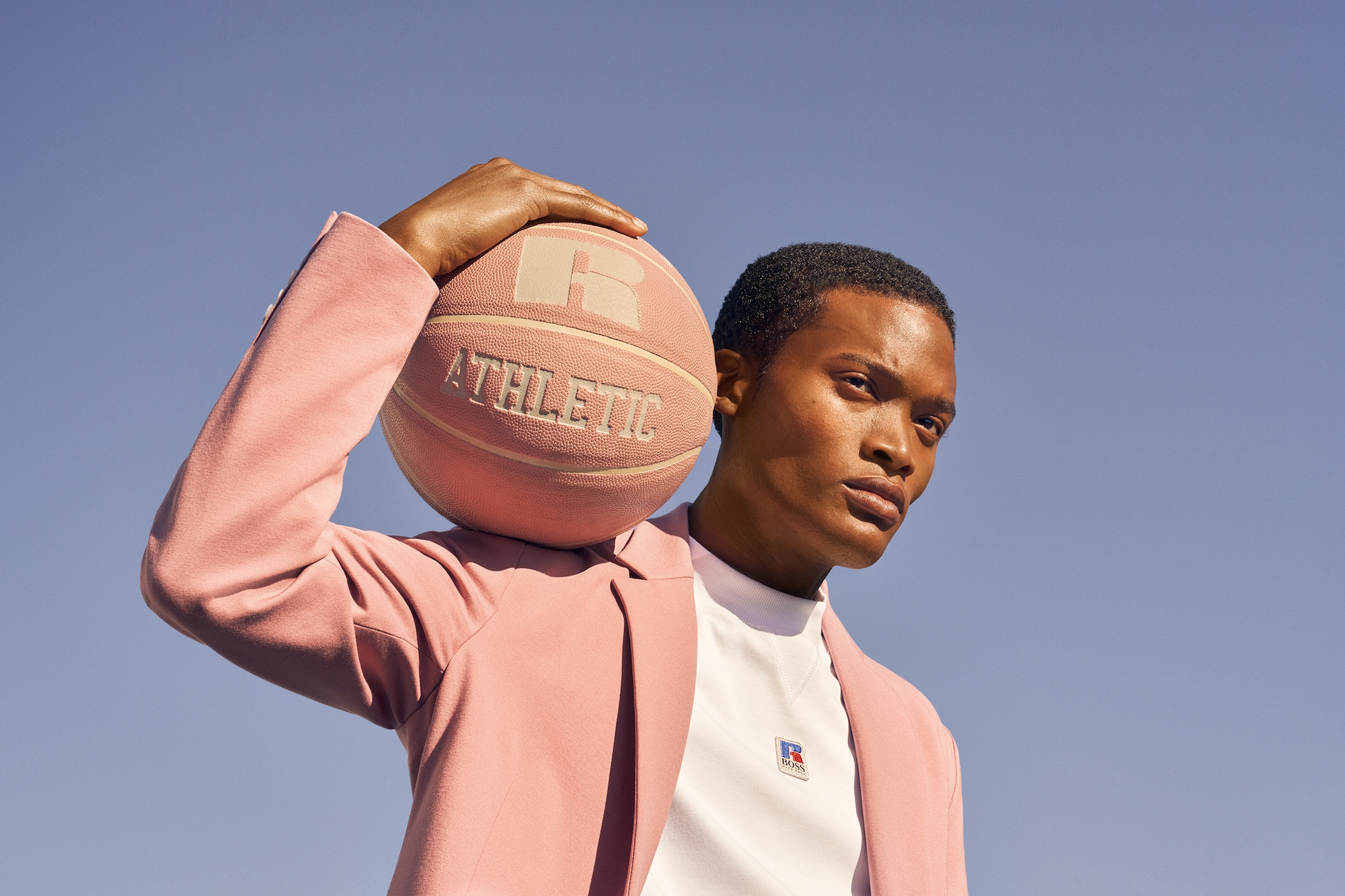 BOSS x Russel Athletic pink jacket