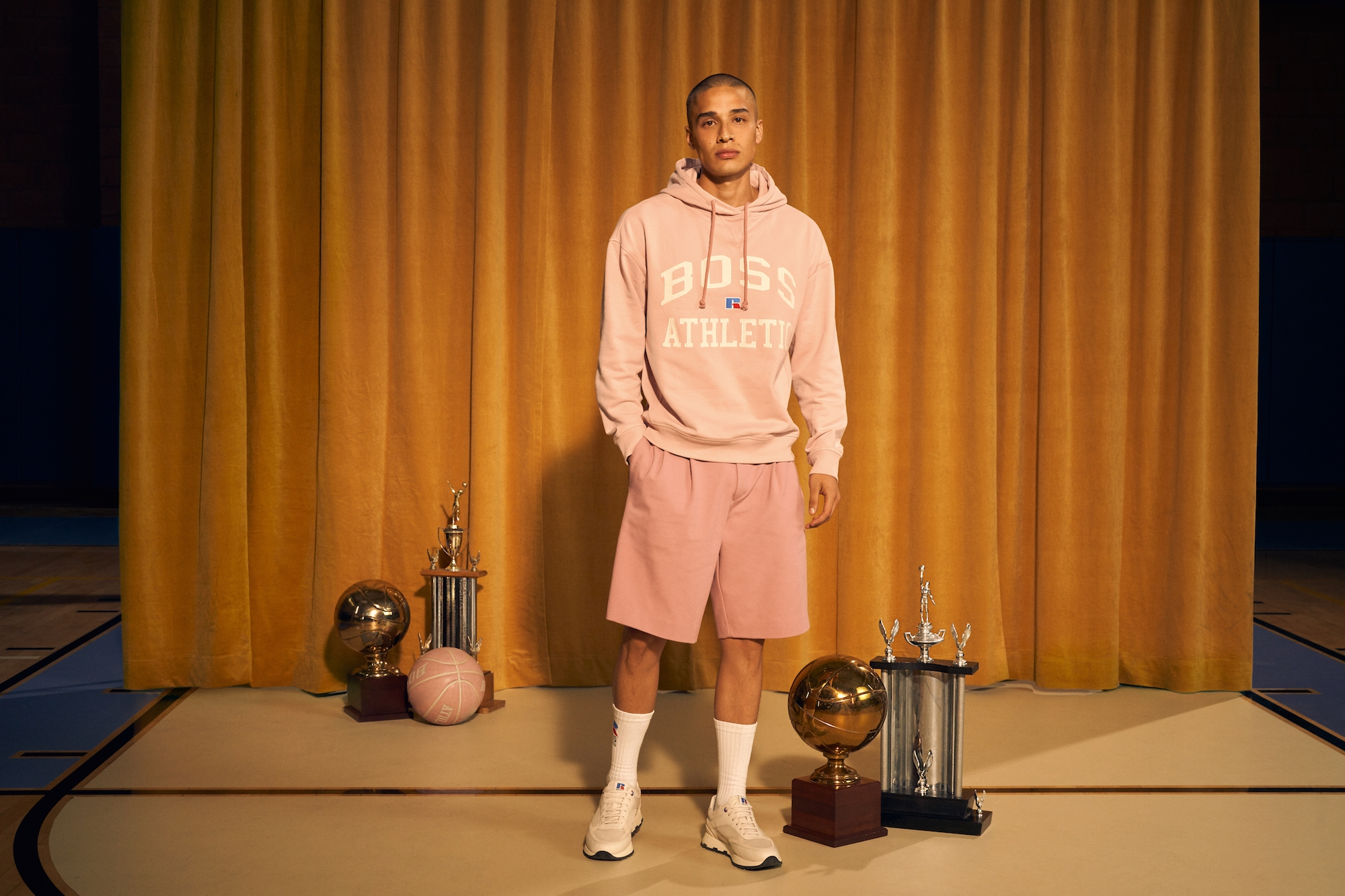 BOSS x Russel Athletic pink outfit