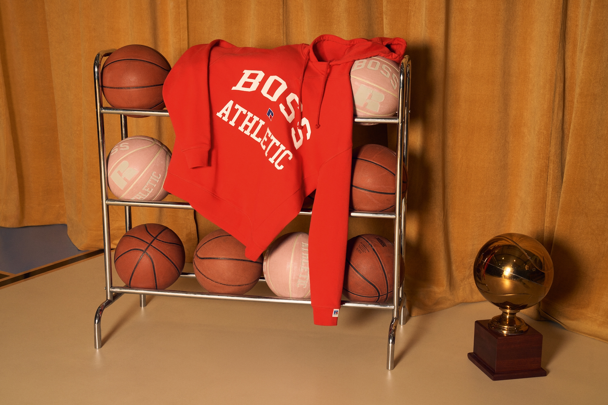BOSS x Russel Athletic red jumper