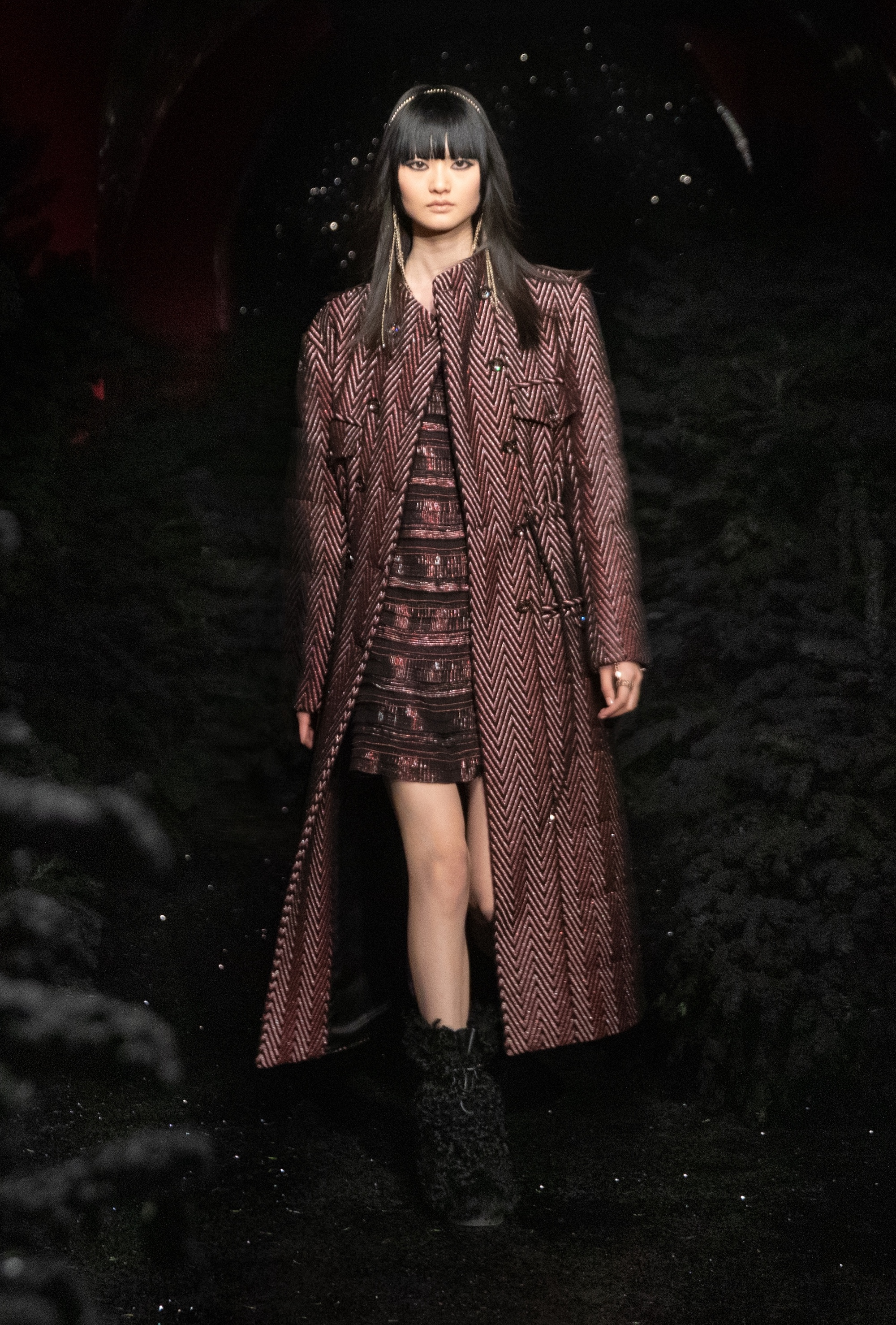 Chanel AW21 long Burgundy coat