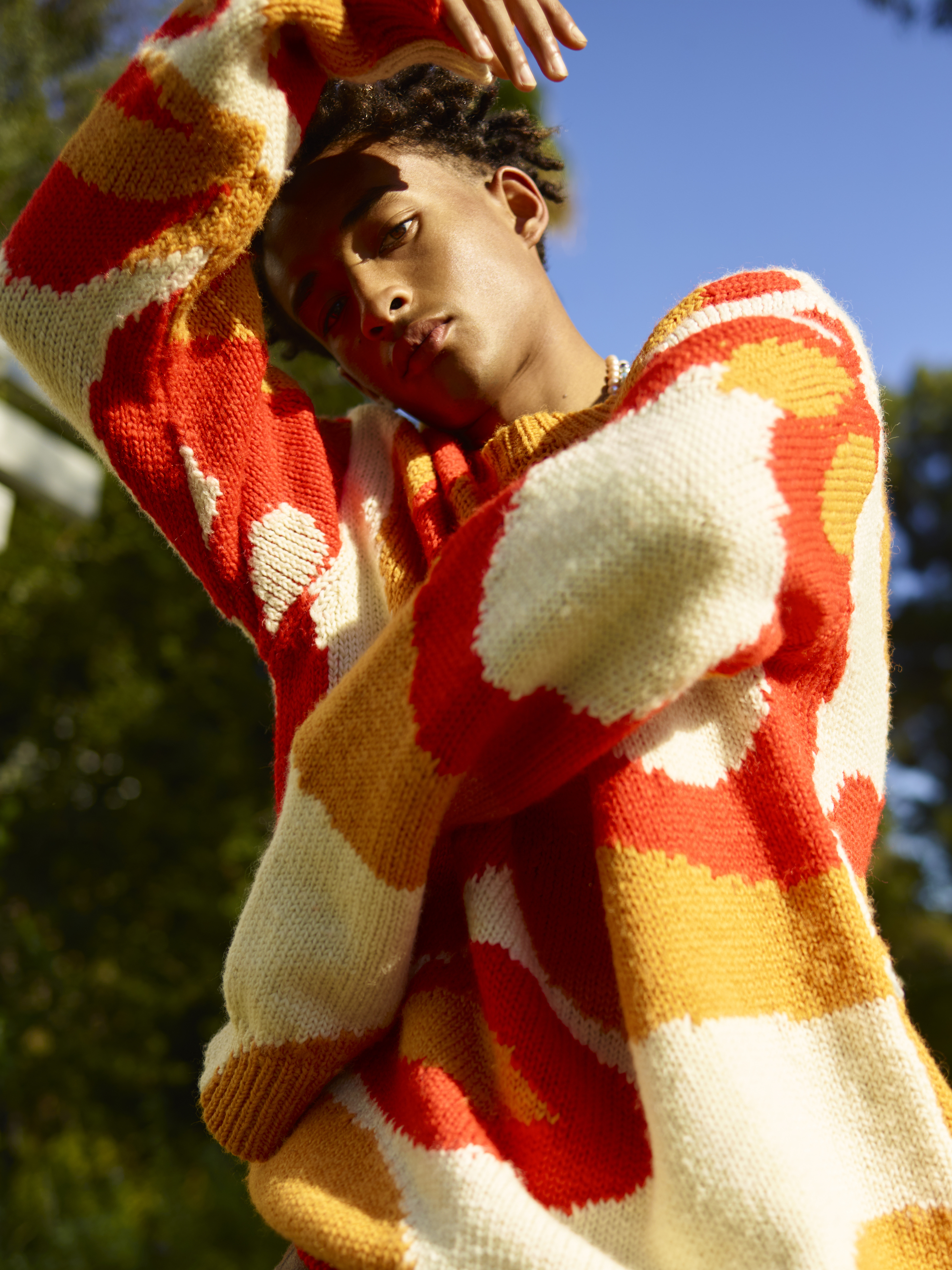 Jaden Smith wearing multi-coloured jumper