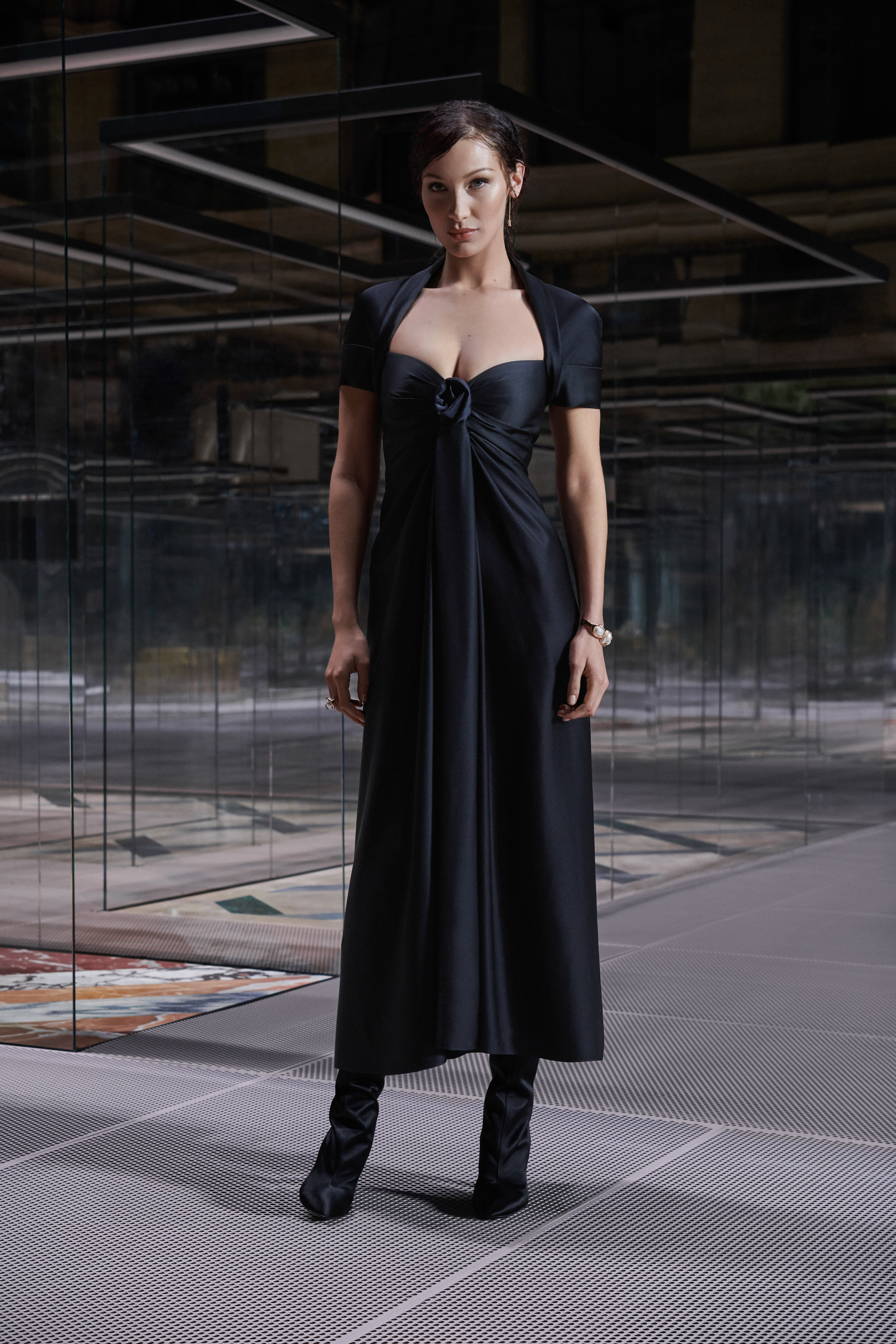Fendi limited edition capsule collection Bella Hadid black heartline dress