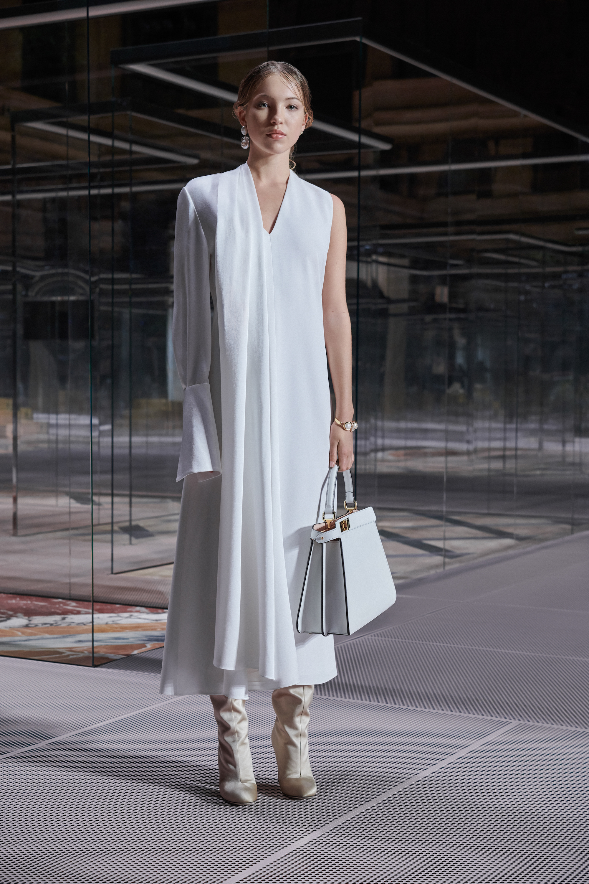 Fendi limited edition capsule collection Lila Grace Moss white dress