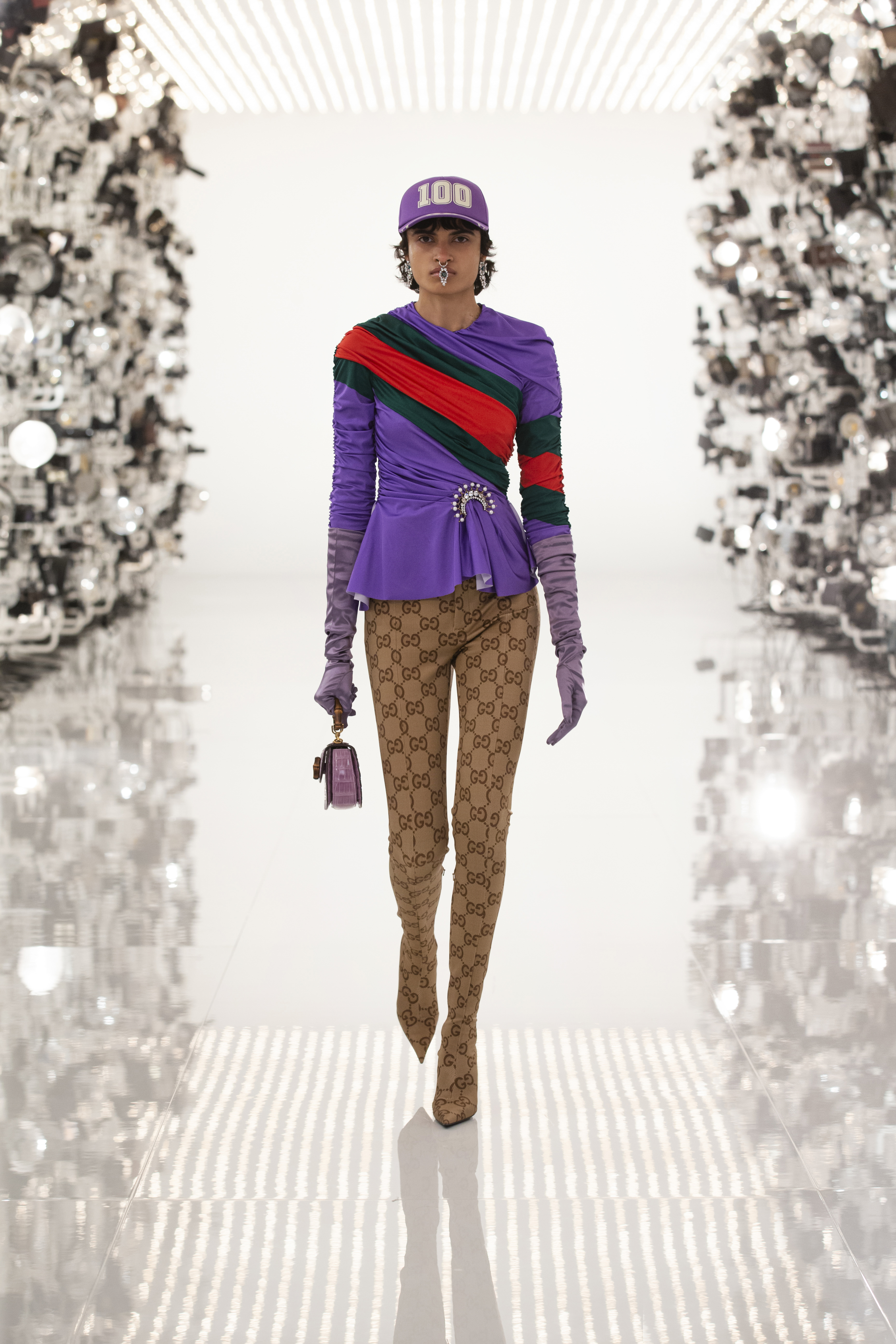 Gucci Aria Purple Top And Monogram Riding Trousers