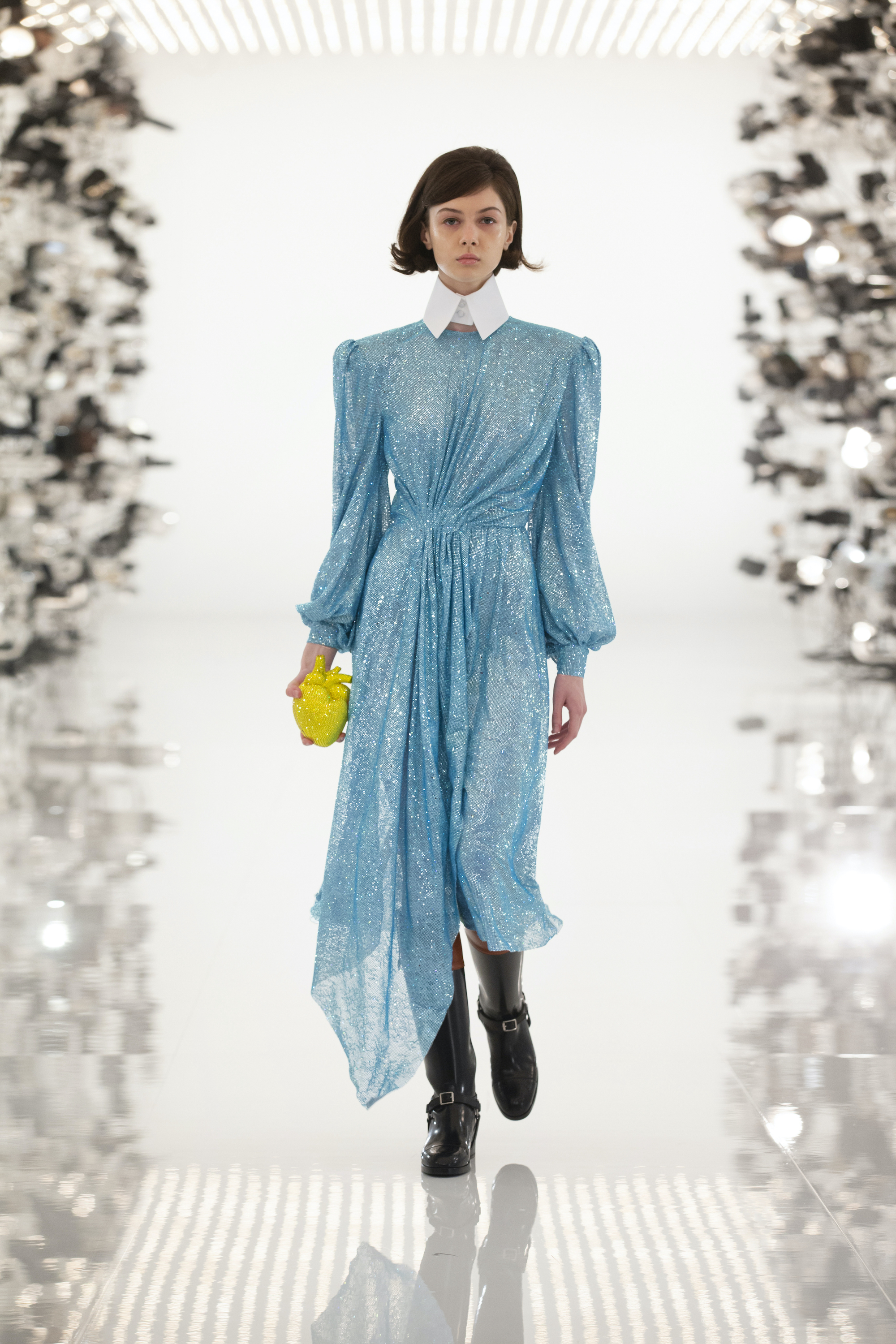 Gucci Aria Blue Sequin Asymmetrical Gown