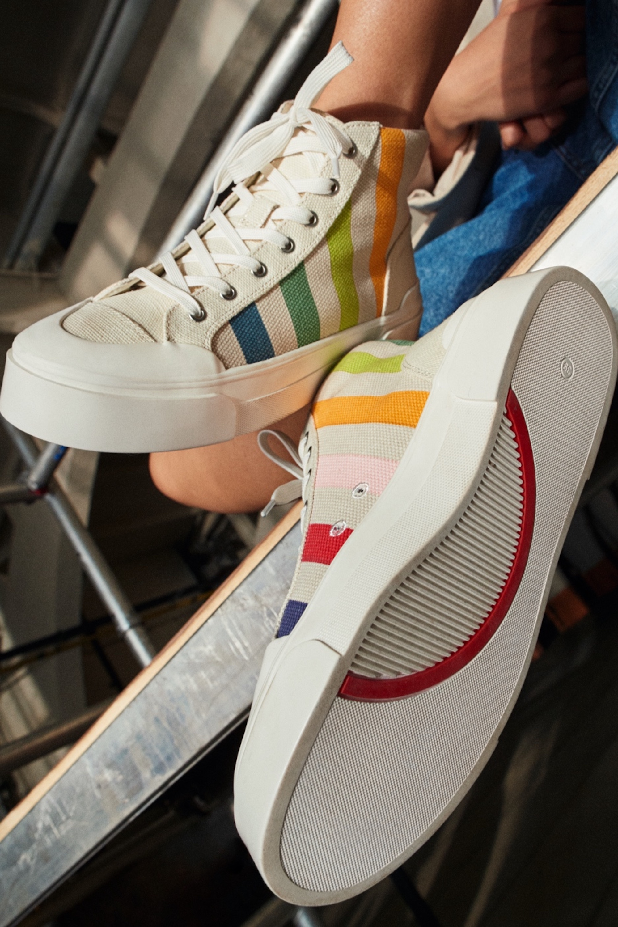 Good News x H&M collaboration striped sneakers
