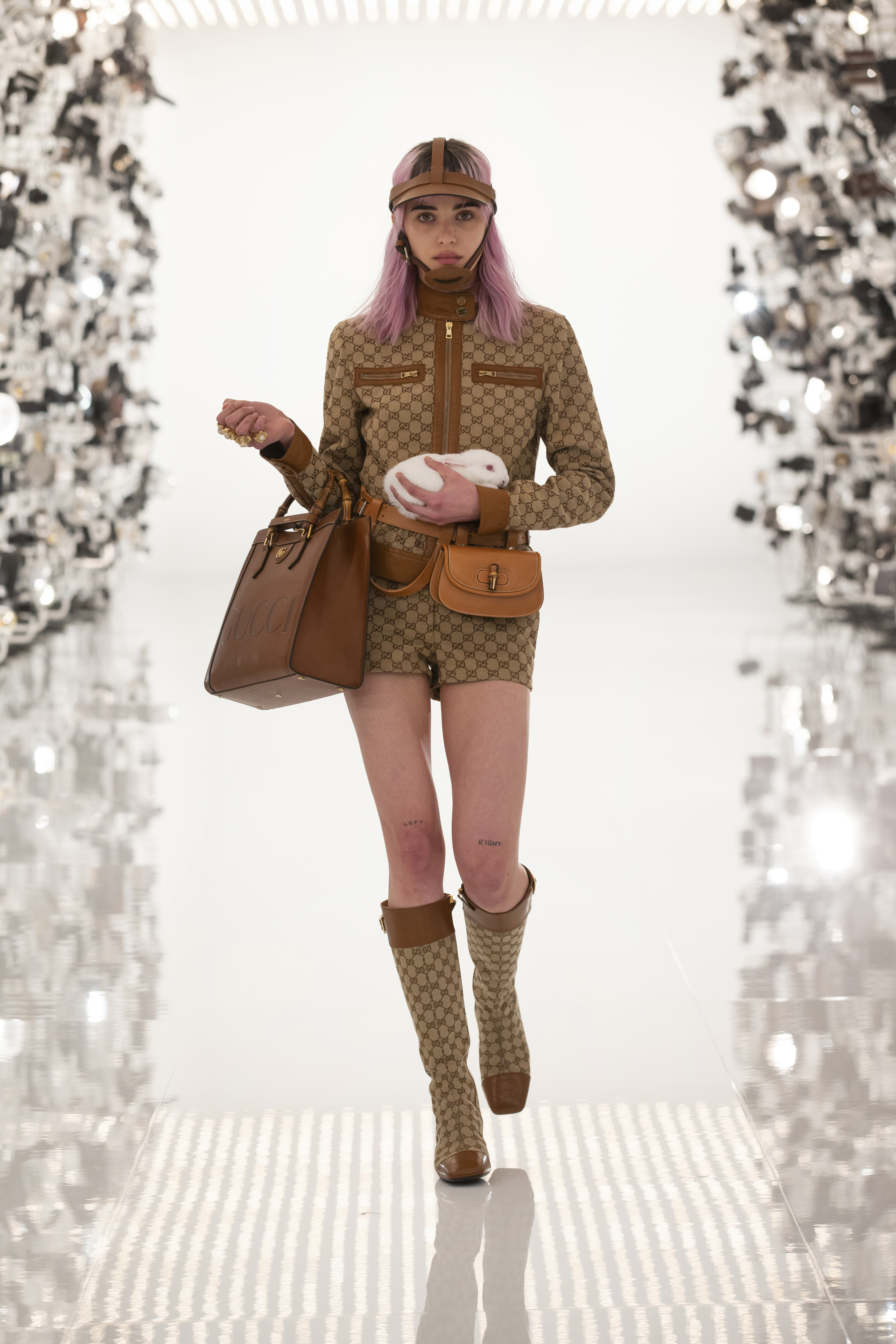 Gucci Aria Monogram Riding Jacket And Knee High Riding Boots