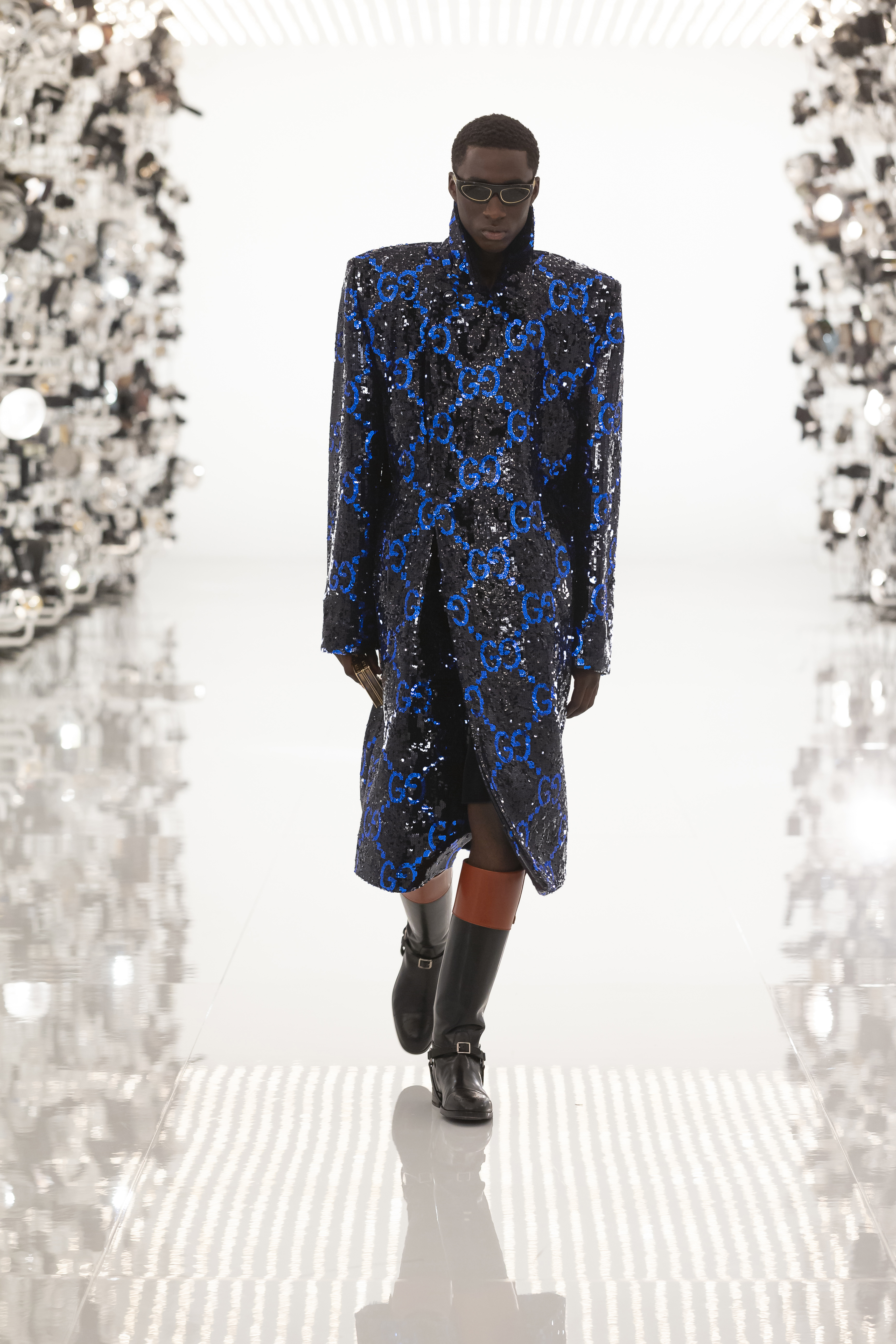 Gucci Aria Black Sequin Coat With Blue Monogram