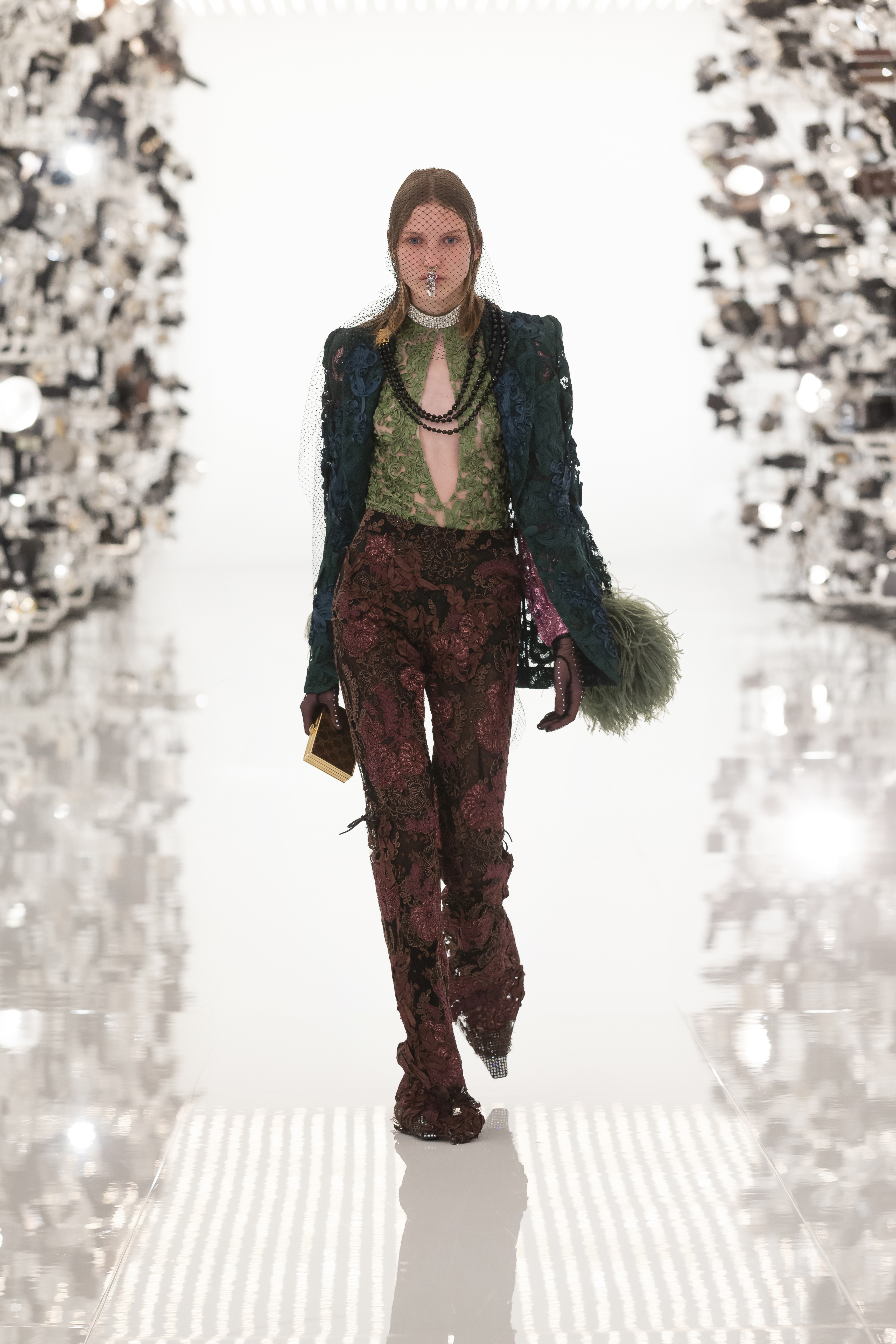 Gucci Aria Green Lace Blazer With Feather Trim And Brown Pants