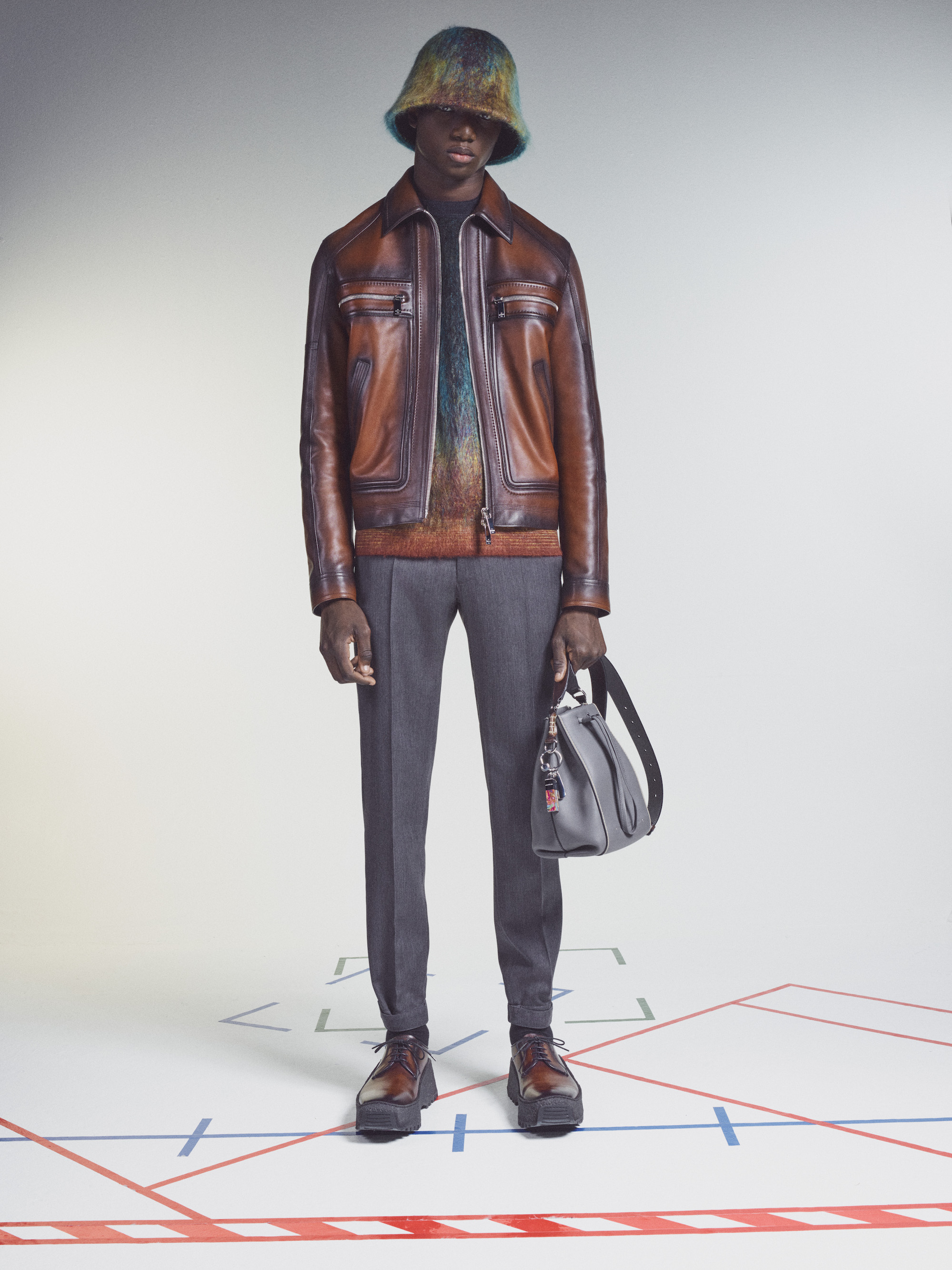 Berluti Winter 2021 Brown Leather Jacket