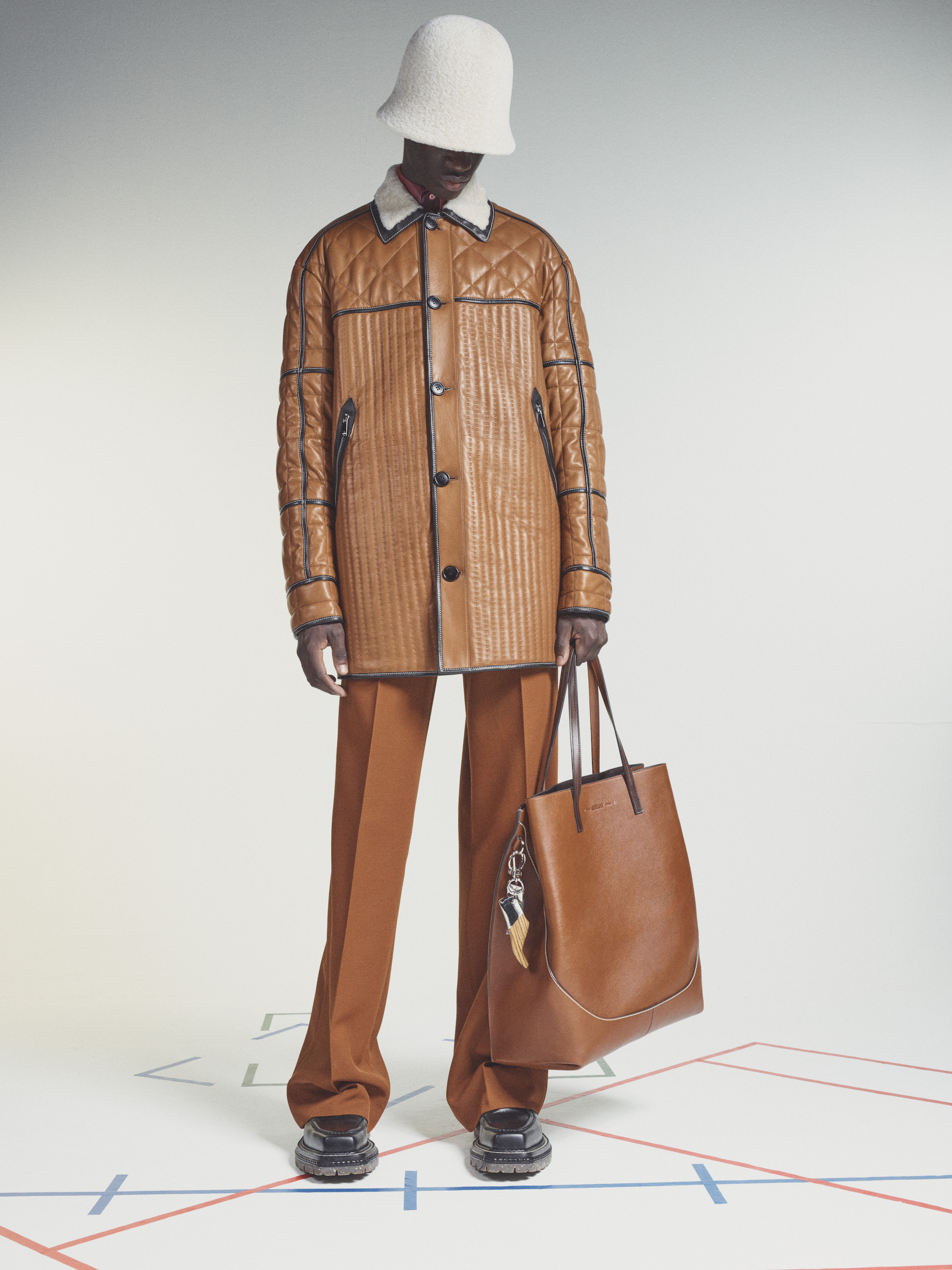 Berluti Winter 2021 Brown Leather Suit
