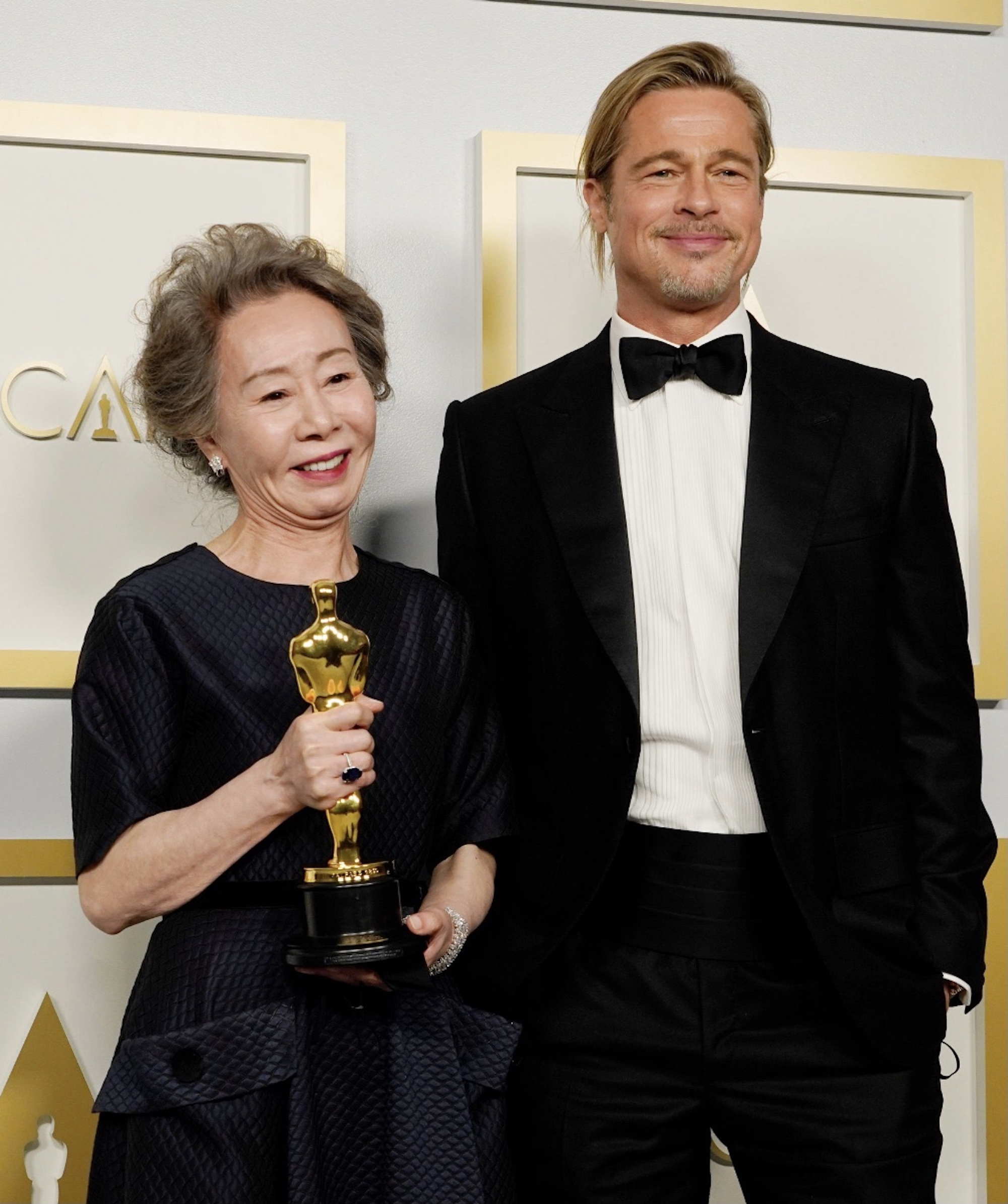 Oscars 2021 Youn Yuh-Jung and Brad Pitt